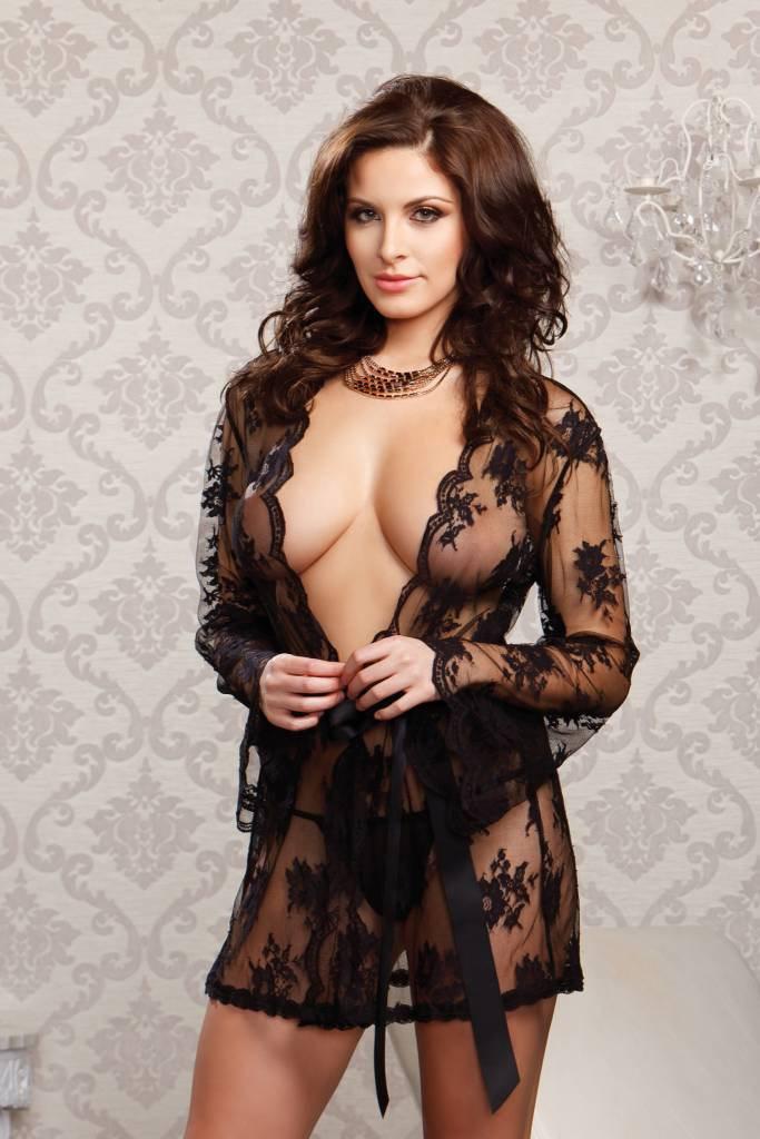 387969de964 Sheer Lace Robe Black - ANGIE DAVIS