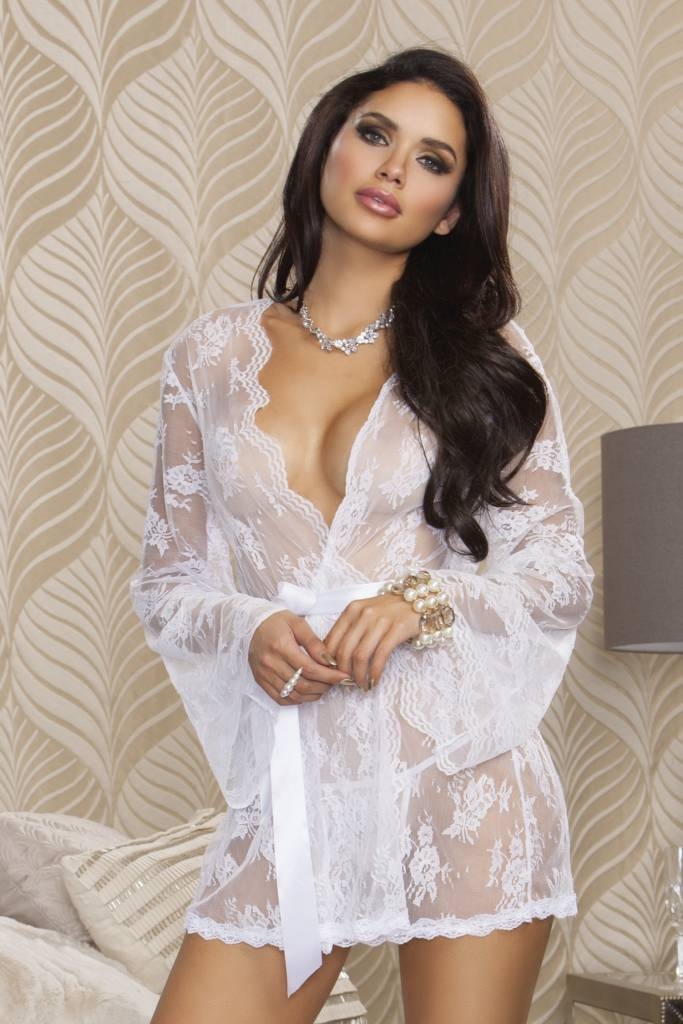 b5ad09ac929 iCollection Sheer Lace Robe White iCollection Sheer Lace Robe White ...