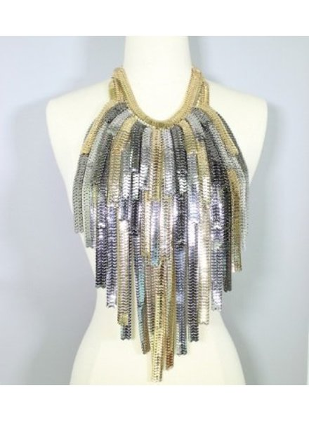 Layered Metal Fringe Body Bib Necklace Gold-Silver
