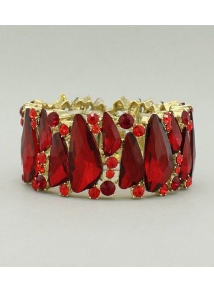 Crystal Stretch Bangle Red