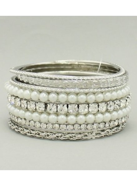 Rhinestone Pearl Bangle Set White