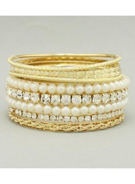 Rhinestone Pearl Bangle Set Ivory Gold