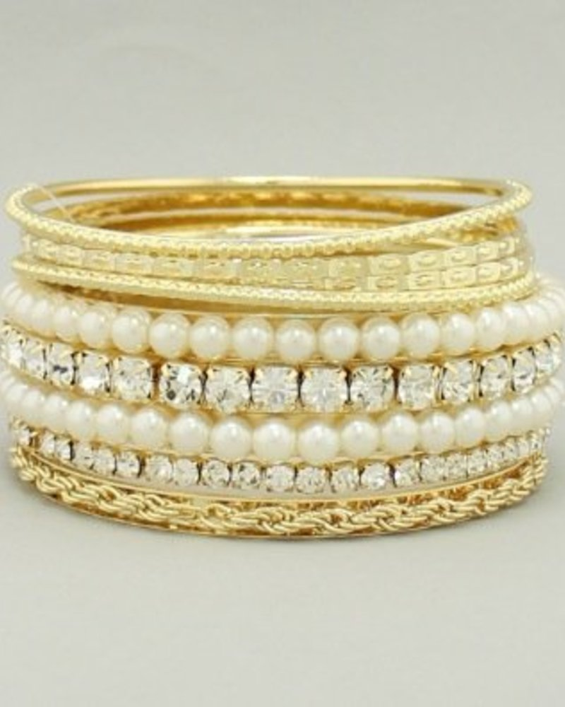 Rhinestone Pearl Bangle Set Ivory Gold
