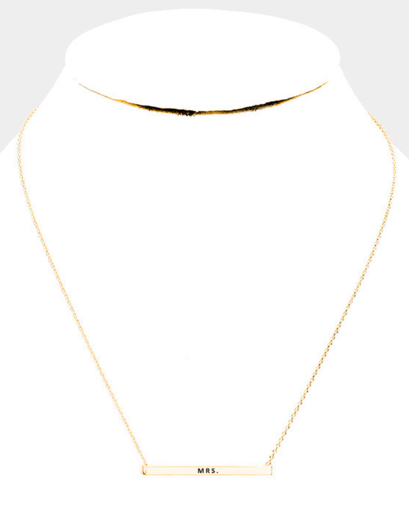 'Mrs.' Horizontal  Bar Pendant Necklace