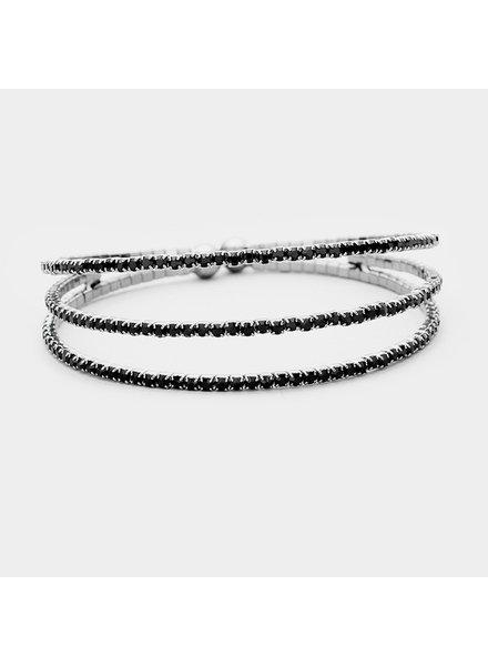Layer Rhinestone Cuff Bracelet