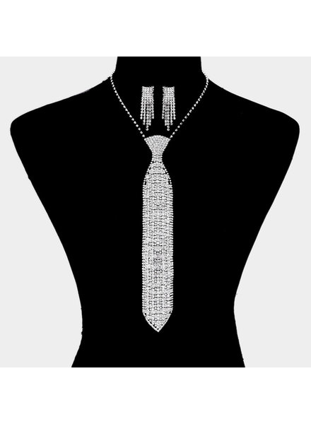 Rhinestone Tie Statement Necklace