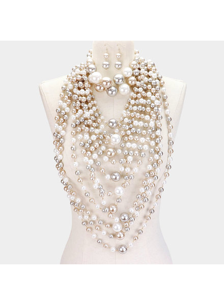 Pearl Choker &  Layered Pearl Armor Necklace