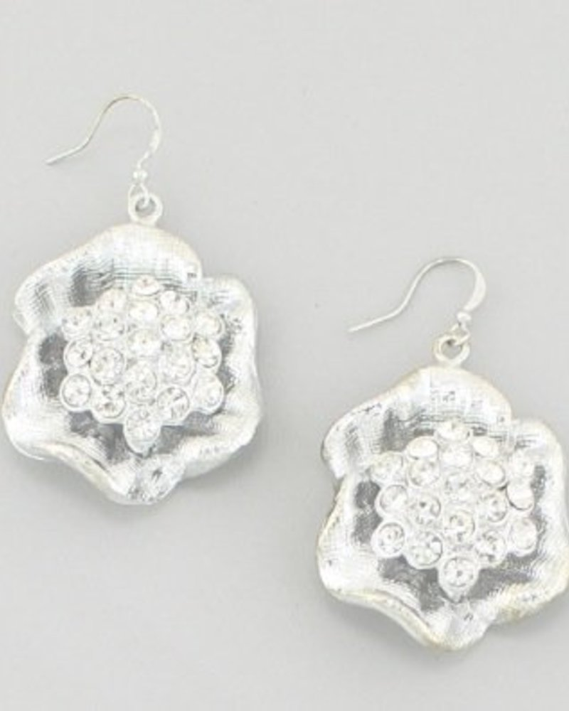 Rhinestone Flower Earrings Silver