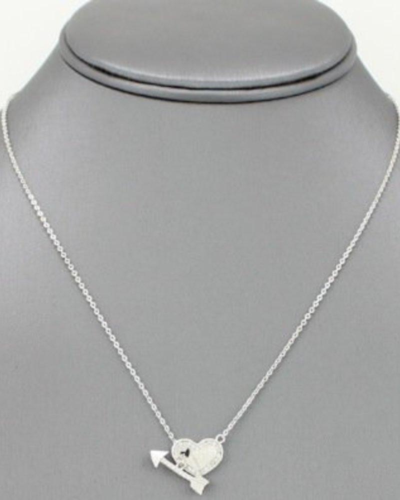 Cupids Arrow Pendant Necklace Silver
