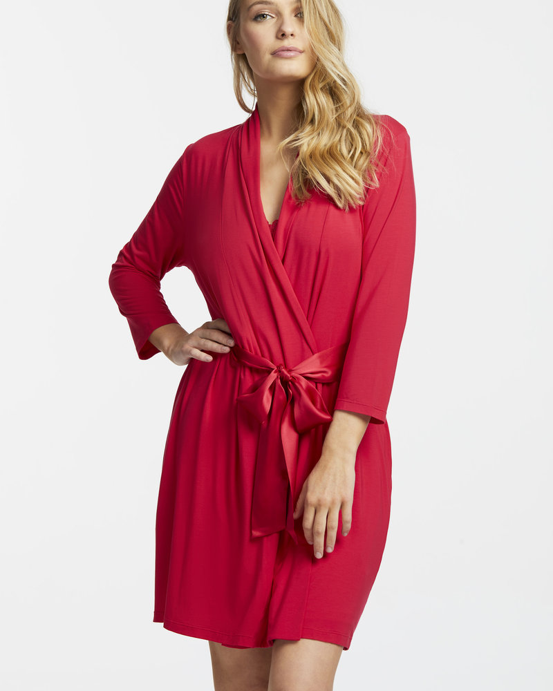 Fleur't Fleur't Robe with Silk Ties - Sunkissed Red