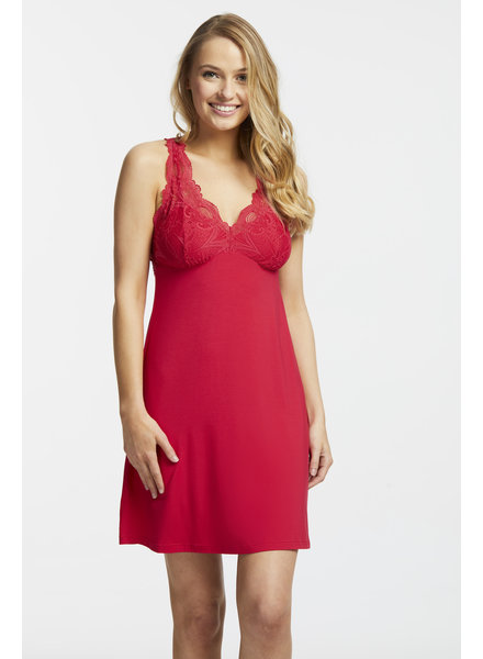 Fleur't Fleur't Belle Epoque Lace T-Back Chemise - Sunkissed Red