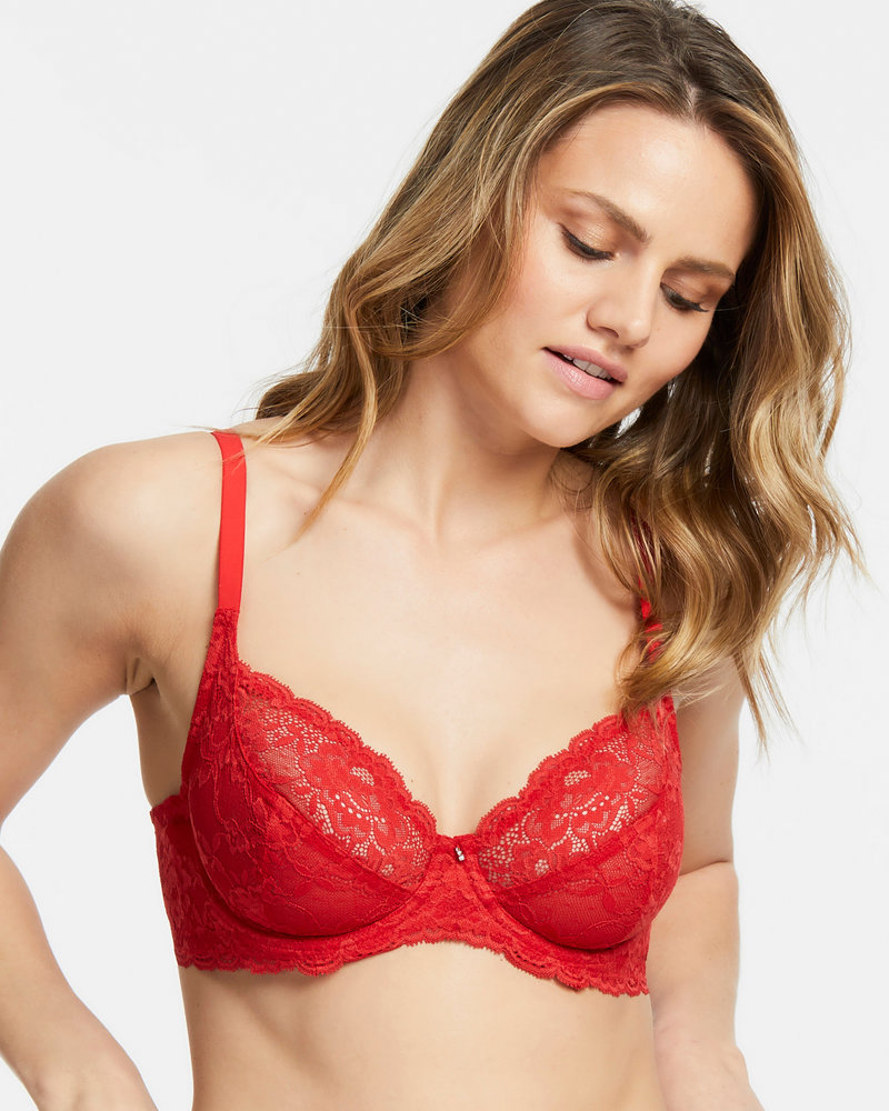 Montelle Montelle Essentials Divine Full Coverage Lace Bra - Sweet Red