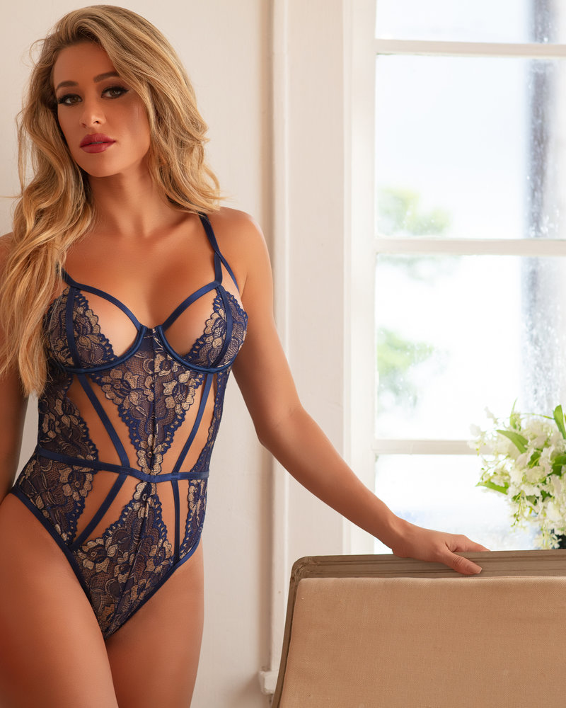 Stacia Floral Lace Teddy