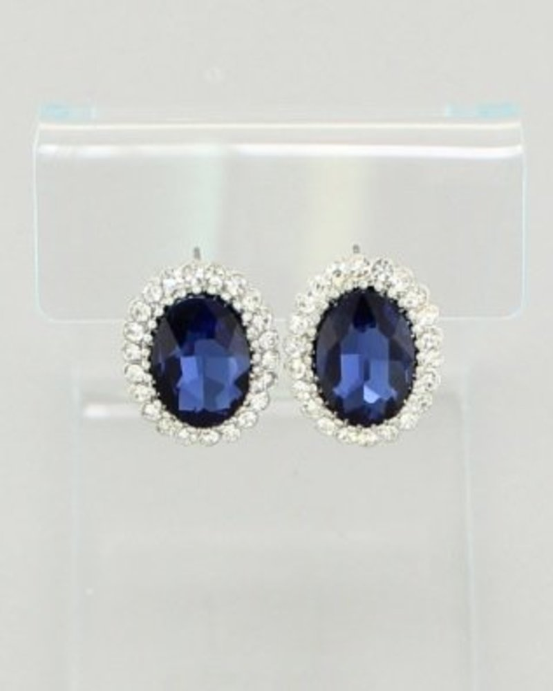 Oval Rhinestone Stud Earrings