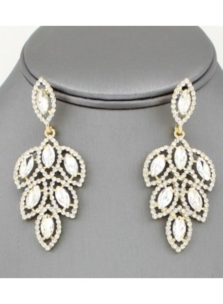 Feather Rhinestone Drop Earring