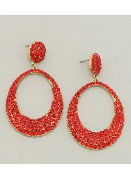 Oval Rhinestone Earrings
