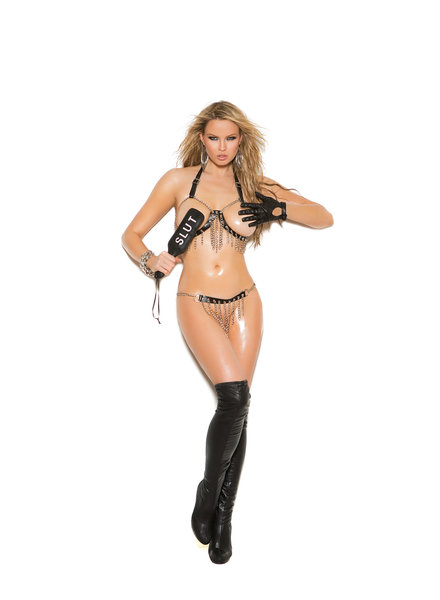 Natalia Leather and Chains Bra & Skirt