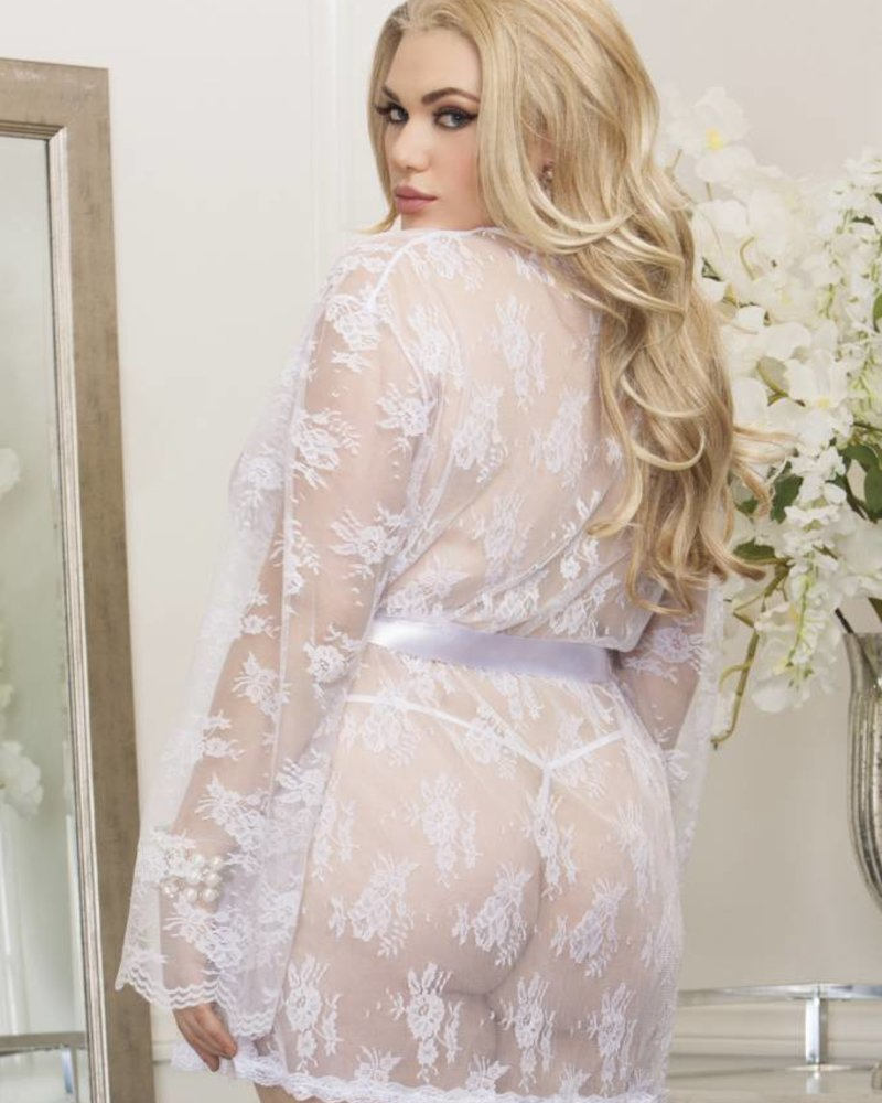 iCollection Sheer Lace Robe White