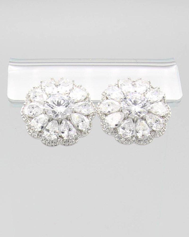 Flower Stone CZ Earrings