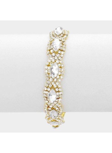 Marquise Point Pave Rhinestone Evening Bracelet