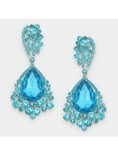 Rhinestone Teardrop Bubble Evening Earrings