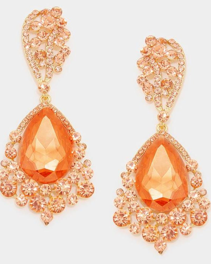 Rhinestone Teardrop Bubble Evening Earrings