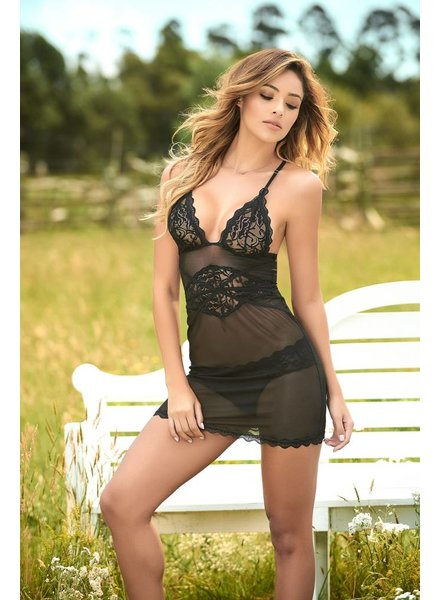 Mapale Mesh and Lace Babydoll with Matching Panty