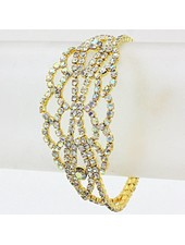 Rhinestone Evening Bracelet Gold