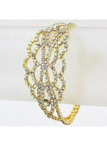 Rhinestone Evening Bracelet Gold