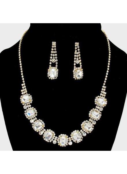 Glass Rhinestone Collar Necklace Set