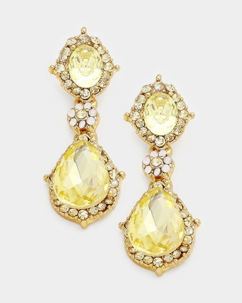Oval Crystal Drop Earring