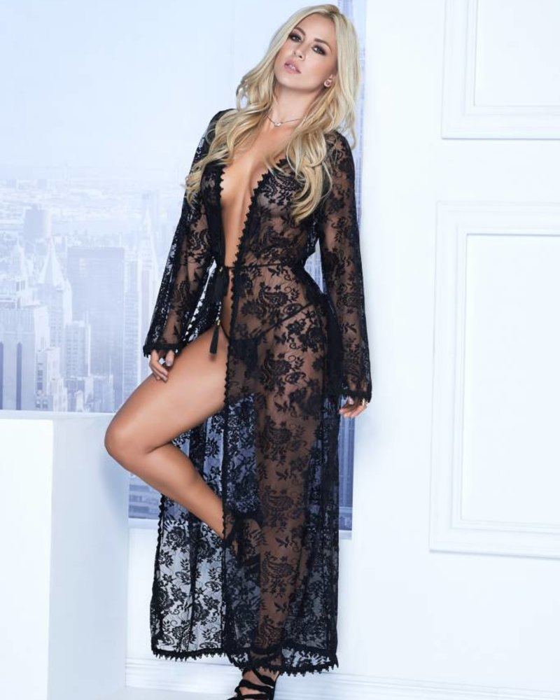d46c0775e5b Long Lace Robe and G-String - ANGIE DAVIS