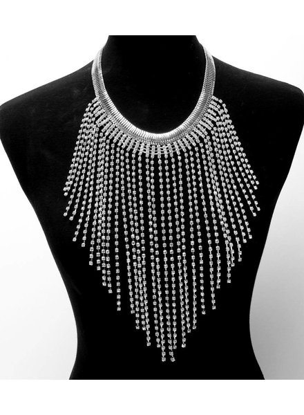 STATEMENT RHINESTONE FRINGE NECKLACE