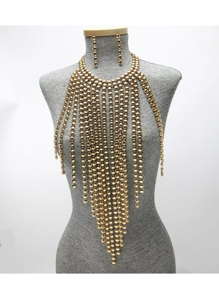 METAL STATEMENT FRINGE BIB NECKLACE