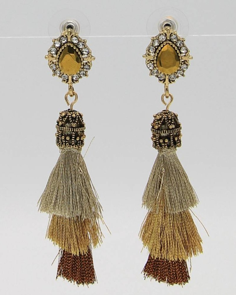 VICTORIAN EVENING TASSEL FRINGE DROP EARRINGS