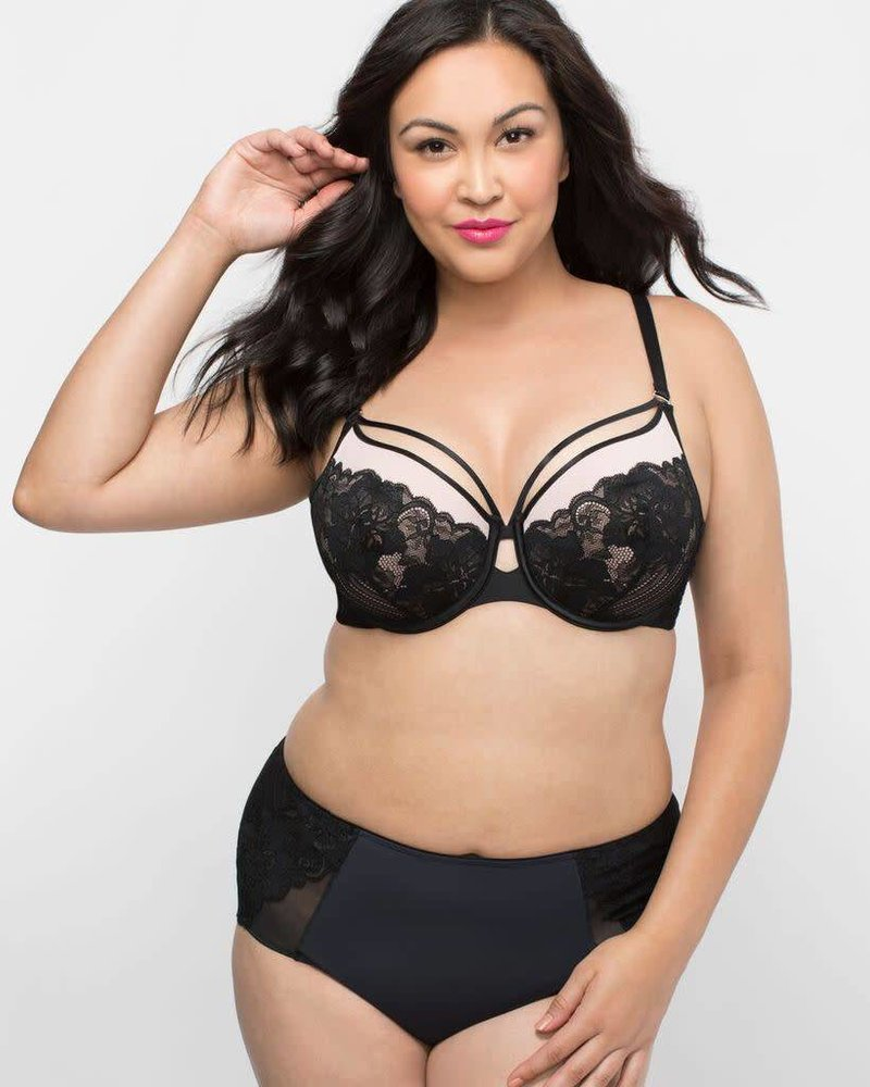 Curvy Couture TULIP STRAPPY LACE BOYSHORT IN BLACK
