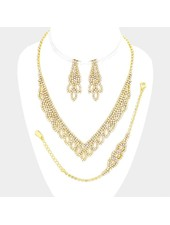 Rhinestone V Collar Necklace 3-Piece Set