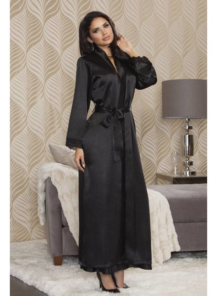 iCollection LONG SATIN AND LACE TRIMMED ROBE