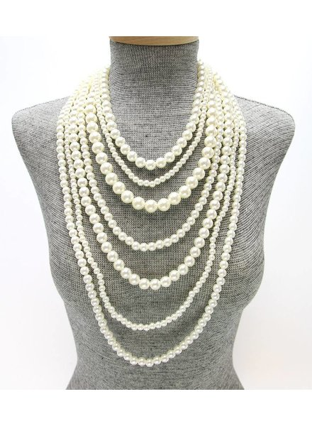 MULTI-STRAND LAYERED PEARL NECKLACE