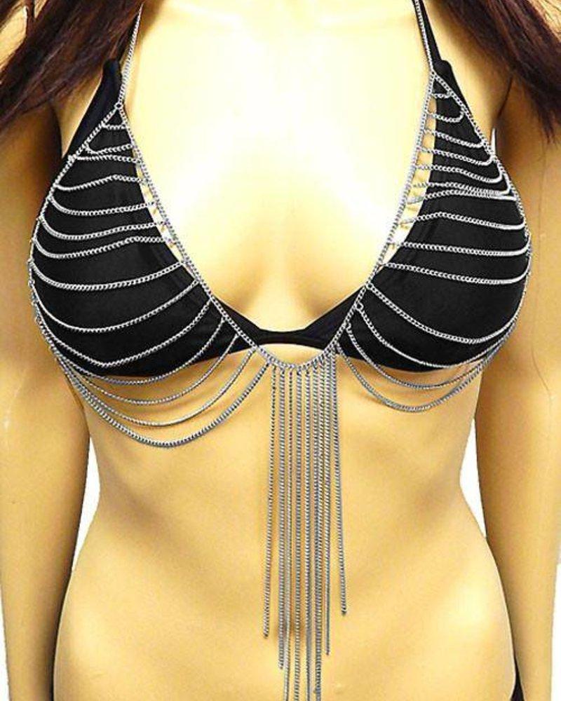 Bra Jewelry Layered Chain With Fringe