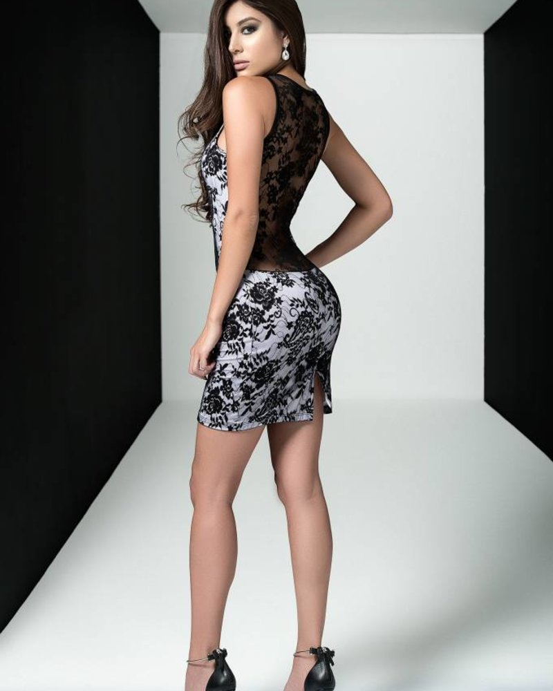 Mapale PLUNGING LACE DRESS