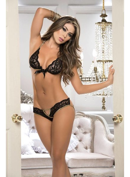 Mapale GOLD TRIM LACE BRA AND PANTY SET