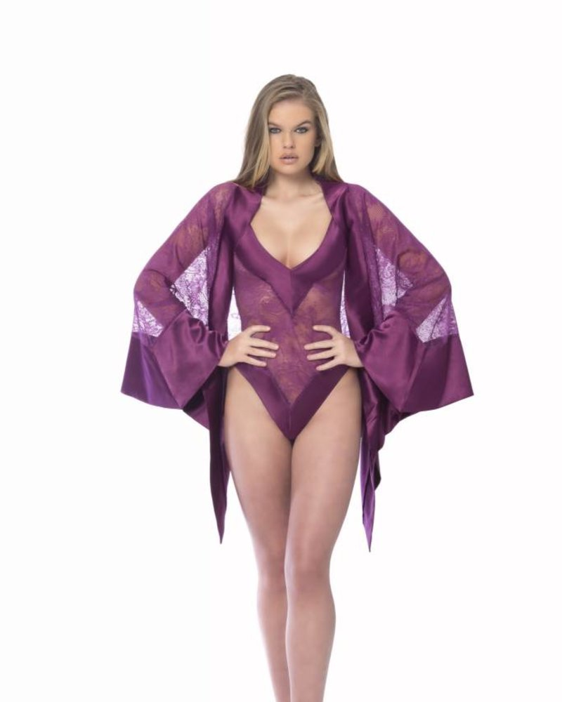 REBECCA SATIN AND LACE ROBE