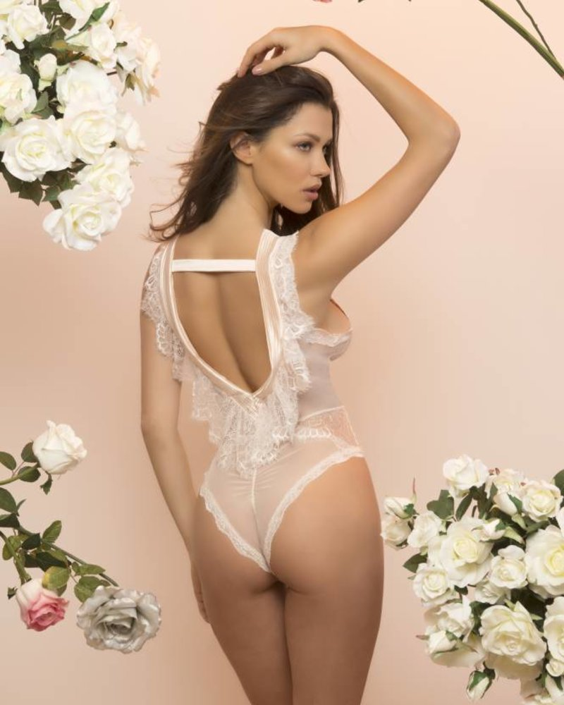 NICOLE SATIN AND LACE TEDDY