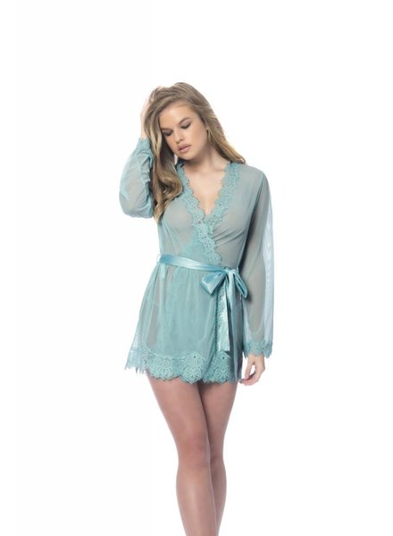 VERONICA SHEER EYELASH ROBE SET