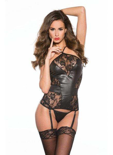 AMELIA WET LOOK LACE BUSTIER