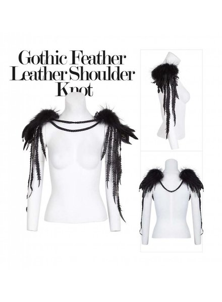 GOTHIC FEATHER LEATHER SHOULDER KNOT BODY JEWELRY