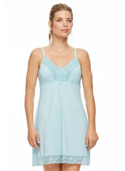 Montelle MONTELLE LACE AND MICROFIBER INTEGRATED SUPPORT CHEMISE - PEARLY SEA