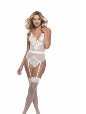 NAOMI EYELASH LACE TEDDY WITH GARTERS - WHITE