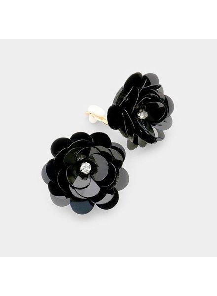 SEQUIN FLOWER CLIP ON EARRINGS